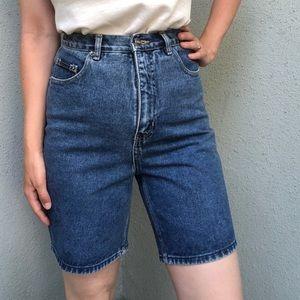 [vintage] 90s high waist long denim shorts